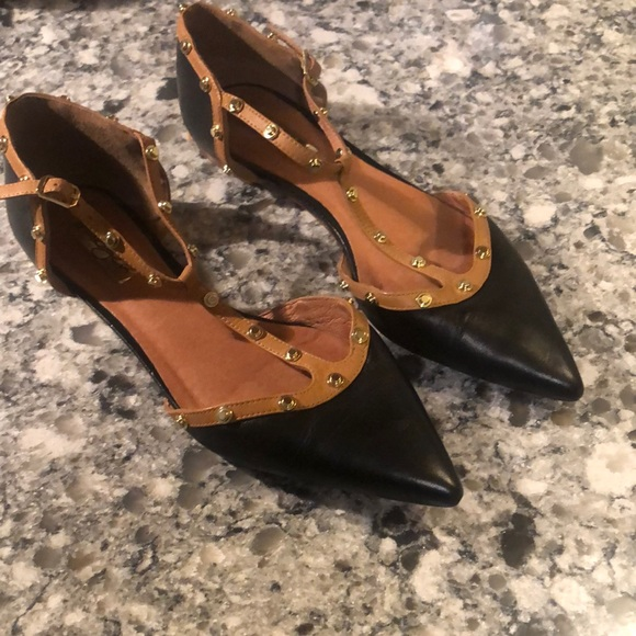 Halogen black leather pointed toe flats gold studs